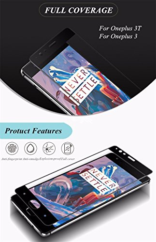 Kohinshitsu 3D Screen Guard with Quantum Dot Tech - Tempered Glass Screen Protector for Oneplus 3T / Oneplus 3 / 1+3 / Oneplus Three / 1+3T Mobile Phone 2016 Model (Black)