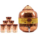 Indian Art Villa Handmade Pure Solid Copper Water Pot Tank Matka Volume 10 Liter With 6 Copper Glass Tumbler Cup Volume 300 ML For Use Storage Drinking Water Restaurant Hotel Home Ware Gift Item Home Decore Good Health Benefits For Indian Yoga Ayurveda