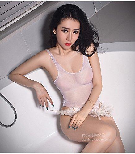 Ultra dünn und seidig glänzende Strapse Unterwäsche Weiß