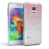 EAZY CASE GmbH Hülle für Samsung Galaxy S5 Mini Schutzhülle Silikon Mandala Design, Slimcover Henna, Handyhülle, TPU Hülle/Soft Case, Silikonhülle, Backcover, indische Sonne, transparent, Pink/Weiß