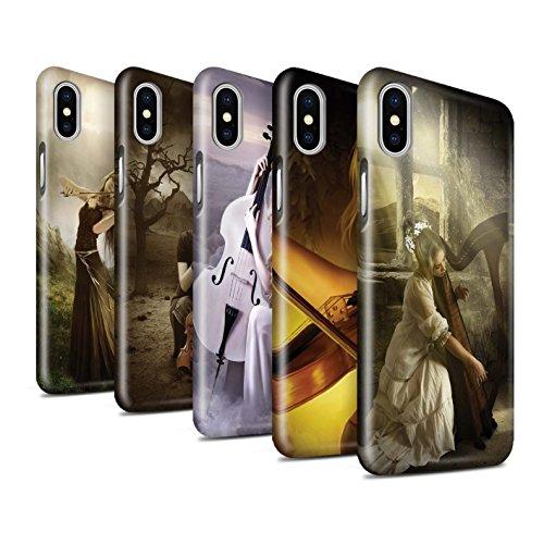 Officiel Elena Dudina Coque / Clipser Brillant Etui pour Apple iPhone X/10 / Pack 6pcs Design / Réconfort Musique Collection Pack 6pcs