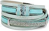 styleBREAKER Vintage Wickelarmband mit Strass, Gliederkette und Magnetverschluss, 3-Reihig, Armband, Damen 05040024, Farbe:Antik-Hellblau