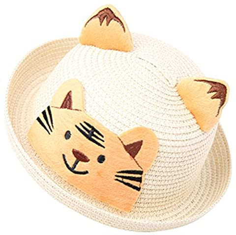 Moolecole Enfants Chapeau De Paille Dessin Animé Chapeau Plage Chapeaux Chapeau De Soleil Kid Caps Beige Tigre