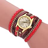 XWH Watch Damen Wickelarmbanduhr Woven Snake,Rot,mm