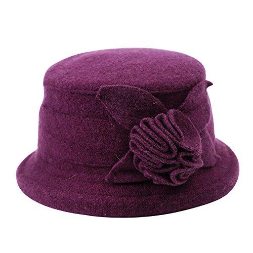 BTBTAV*Frau Herbst und Winter hat Wolle mode Elegante kleine mütze kopfbedeckung Barette , lila Blumen (Wunderland Im Dress Spiel Up Alice)