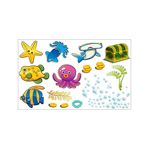 Bluelover Tropical Cartoon Pescado Mar Burbuja Océano Mundo Extraíble Pared Baño Pegatinas...