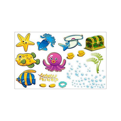 Inovey Tropisch Cartoons Fisch Meer Blase Ozean Welt Abnehmbar Wand Badezimmer Aufkleber Glas Pastes Dekor- S & D4 -
