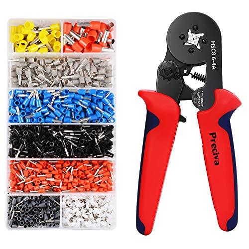 Preciva Crimpzangen Aderendhülsen Set, Aderendhülsenzange mit 1200 stück Aderendhülsen Tool Kit 0,25-10,00 qmm