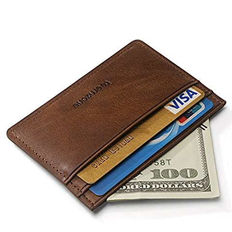 Teemzone Porte-Monnaie Homme Cuir véritable Portefeuille Pour poches pantalon ou veste Porte-cartes de crédit Hommes marron / kaki