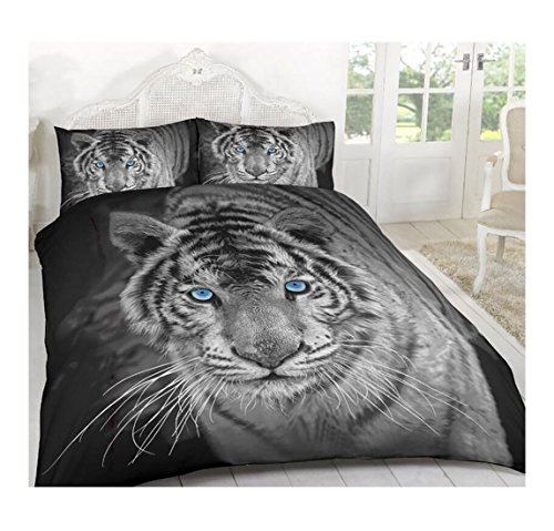 Islander Fashions schwarz wei� Tiger 3D Tier gedruckt Bettdecke Bettw�sche Covers Set mit Kissenbez�ge K�nig