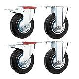 YAOBLUESEA Ruedas de Transporte de transporte Ruedas cargas pesadas rollos de muebles (2 x Ø 125mm rueda fija + 2 x volantes Ø 125mm con freno de 70 k