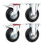 Set di 4 Rotelle Pivotanti Ruote da Trasporto per Mobile Diametro 125 mm Ogni 100 kg carico (2 x Ruota fissa, 2 x rotelle con freno della ruota)