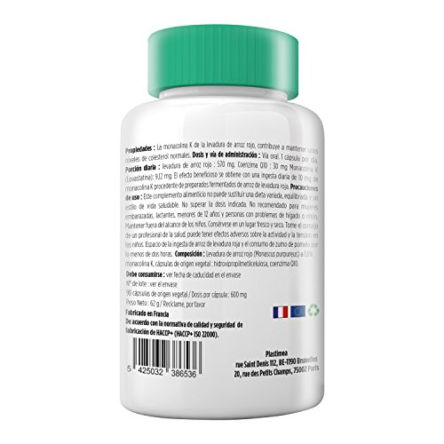 LEVADURA ROJA DE ARROZ + COENZIMA Q10 Eficaz Reductor de Colesterol Dosis Concentrada Natural 100% Puro Programa de 3 meses 600 mg 90 capsulas Gastro Resistentes de Origen Vegetal Fabricado en Francia