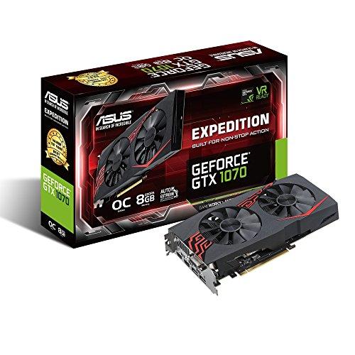 Asus Expedition GeForce GTX1070-O8G Gaming Grafikkarte (Nvidia, PCIe 3.0, 8GB DDR5 Speicher, HDMI, DVI, DisplayPort)