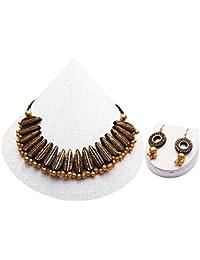 Terramart_ Handmade Terracotta Necklace Set Jewellery For Women / Girls ( Blackish & Gold )