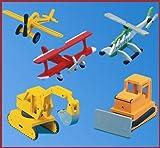 Kaleas Laubsägevorlage 5 Modelle Hubschrauber/Flugzeug/Bagger/Raupe/Doppeldecker