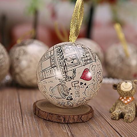 XHDWNBM 20 Pcs Continental matrimonio zucchero sfera cartuccia amore frutto di banda stagnata di nozze Hi Contenitore zucchero arti creative e culturali la nostalgia per la Wedding-Hi cartuccia di zucchero di Natale scatola regalo , piccoli (diametro 6,8 cm), Love Paris
