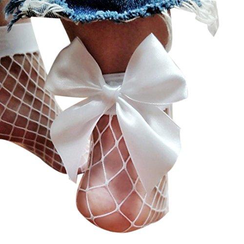 SANFASHION Damen Rüschen Fischnetz Knöchel hohe Socken Mesh Lace Fisch Net kurze Socken (Weiß) (Mesh-rüschen-dessous-set)