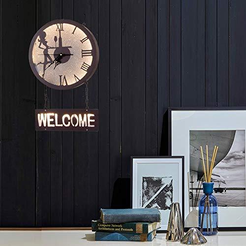 The only good quality Dekoration Britische Retro Industrie Wind LED Schönheit Wanduhr Wandleuchte Kreative Home Living Room Restaurant Clubhouse Cafe Dekoration Uhr Einfache Lampen (51 * 32cm)
