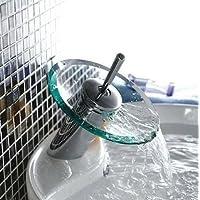 Generic Robinet lavabo Blender en verre Cascade salle de bains Chrome Laiton Levier Robinet < 1& 1485* 6>