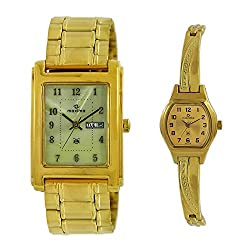 Maxima Square Golden Dial Day N Date Watch For Couple WITH 123 NUMERICS