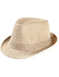 Overdose Sombrero de Paja para Sol Unisex de Color sólido Fresco Gorra de  gángster Banda de Playa Sombrero de… 3db126f29de