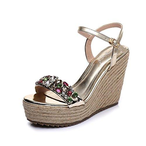 Pequeña/Sandalias de moda de verano/Sandalias de cuña/Diamante trenza de zapatos de plataforma de cuerda-A Longitud del pie=24.3CM(9.6Inch)