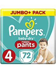 Pampers Baby Dry Pants Size 4 Jumbo+ Pack 72 Nappies