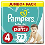 Pampers Baby-Dry 72 Nappy Pants, Easy-On with Air Channels for Up to 12 Hours of Breathable Dryness, Size 4, 9-15 kg