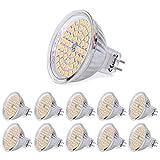 SanGlory 10 Stück MR16 GU5,3 LED Lampen 5W 380 Lumen 3000K Warmweiß Ersetzt für 50W Halogen 60 * 2835 SMD LED Leuchtmittel Energiesparlampe Abstrahlwinkel 120º AC/DC 12V (10er Warmweiß)