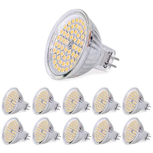 SanGlory 10 Stück MR16 GU5,3 LED Lampen 5W 380 Lumen 3000K Warmweiß Ersetzt für 50W Halogen 60 * 2835 SMD LED Leuchtmittel Energiesparlampe Abstrahlwinkel 120º AC/DC 12V (10er Warmweiß) -