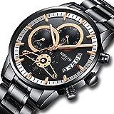 Herrenuhren Edelstahl Schwarz Klassische Luxus Business Casual Uhren mit wasserdichte Multifunktions-Quarz-Armbanduhr für Herren