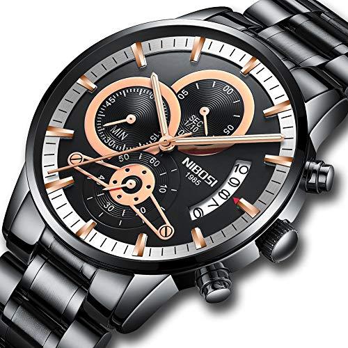 dad38690a0aa Relojes de Lujo para Hombre de Acero Inoxidable Negro Reloj ...