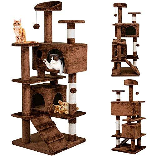 Yahee Katzenkratzbaum Katzenbaum Spielbaum mit Seil und diversen Plattformen 136 cm Hoch (Braun)