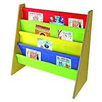 Kids Book Storage Rack Wooden Sling Bookshelf Childrens Bookcase Shelves With Primary Colours - by Nuovva