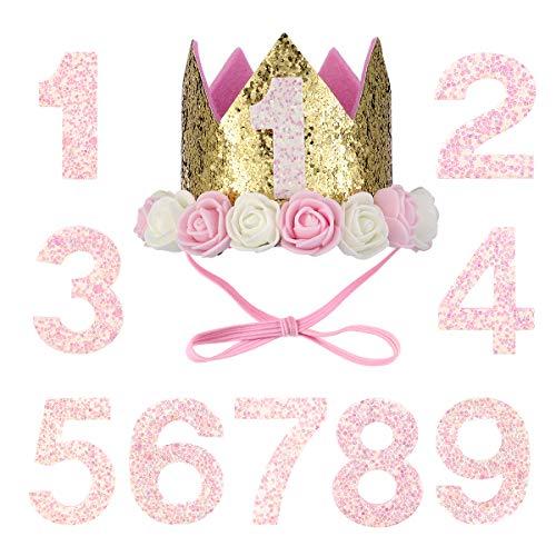 POPETPOP Corona de Cumpleaños Rosa con Número 1-9 para Mascota Perro Gato y Niñas
