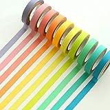 Ruban Washi, Ailiebhaus Adhésif masquant Autocollant coloré rainbow Tapes DIY Rubans Étiquettes 10 rouleaux
