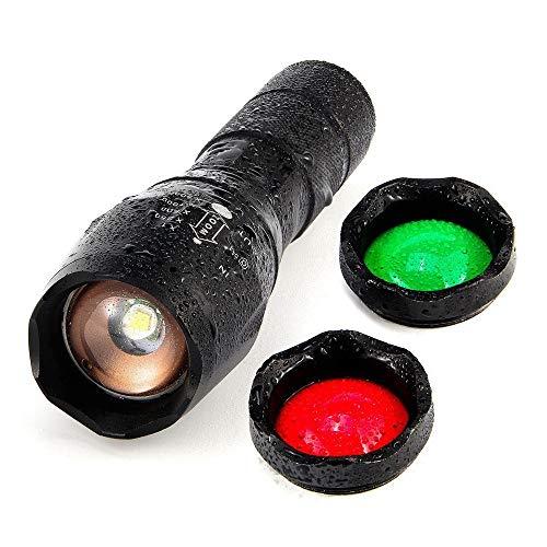 Lonshell Portátil Linterna 20000 Lúmenes Cree Xm-L T6 Led Zoomable 3 Colores Flash Torch Hunt Light Súper Brillante Las Luces De Caza De La Antorcha Lente Roja/Verde/Blanco(Baterías No Incluidas)