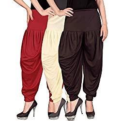 Culture the Dignity Womens Lycra Dhoti Pants-RED-BEIGE-BROWN-FREESIZE - Combo Pack of 3