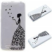 Qiaogle Teléfono Caso - Funda de TPU silicona Carcasa Case Cover para Xiaomi HongMi 3 / Redmi3 Red Rice 3 (5.0 Pulgadas) - MM05 / Mariposa niña