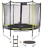 Kangui - Trampoline JUMPI Pop + Filet + échelle PVC + Couverture de propreté - Noir et Vert - Ø250cm - 300cm - 360cm - 430cm