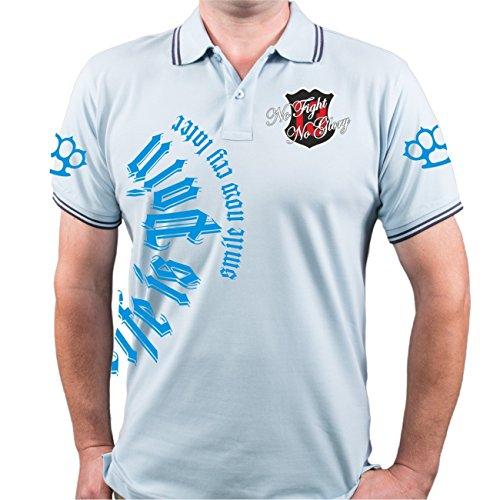 Männer und Herren POLO Shirt Smile now (blue edition) mit Rückendruck Hellblau/Navy