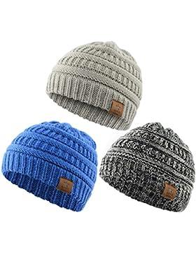 Azue Mütze Baby Winter Beanie Kinder Warme Babymütze mit Ohrenschützern Unisex