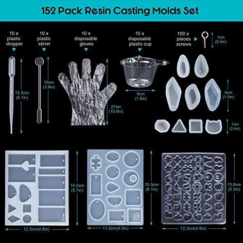 Molde de Joyas Silicona 152 PC, 12 Forma Molde Silicona+ 100 piezas de tornillo Pins la Epoxy Resina Moldes,plásticas disponibles,agitadores,cuentagotas,guantes disponibles(152-Animal)