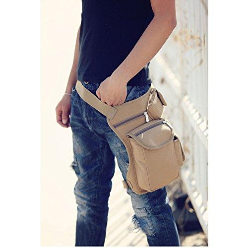 MeCooler Herren Beintasche Retro Taschen Canvas Hüfttasche Bein Hip gürteltasche für Vintage Sporttasche Militär Lässige Reisetasche Multi Strandtasche Gürtel Pack Beige