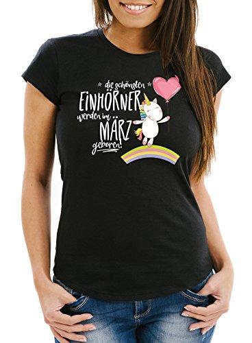 MoonWorks Damen T-Shirt die schönsten Einhörner Werden im März Geboren Slim Fit Geschenk...