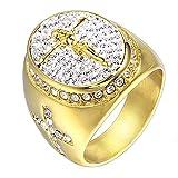 Herren Jesus Kreuz Diamant Titan Stahl Gold Ringe,Gold,Größe 67 (21.3)
