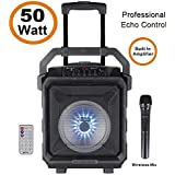 (Renewed) Zoook Rocker Thunder XL 50 watts Trolley Karaoke Bluetooth Speaker with Remote, Built-in Amplifier & Wireless Mic(Black)