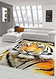 Traum Teppich Designerteppich Moderner Teppich Wohnzimmerteppich Tiger Orange Creme Schwarz, Größe 160x230 cm