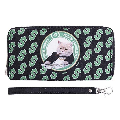 Guolipin Damen Geldbörsen Grüne Kitty Doodle Print Zip Wallet Lange große Kapazität Frau Brieftasche Karte Clutch Clutch alltäglichen Wilden Clutch Bag Frauen Geschenk -